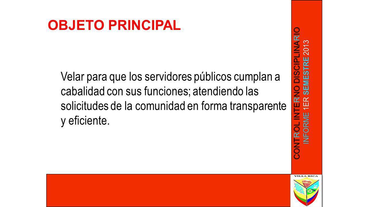 OBJETO PRINCIPAL Velar para que los servidores públicos cumplan a cabalidad con sus funciones; atendiendo las solicitudes de la comunidad en forma tra
