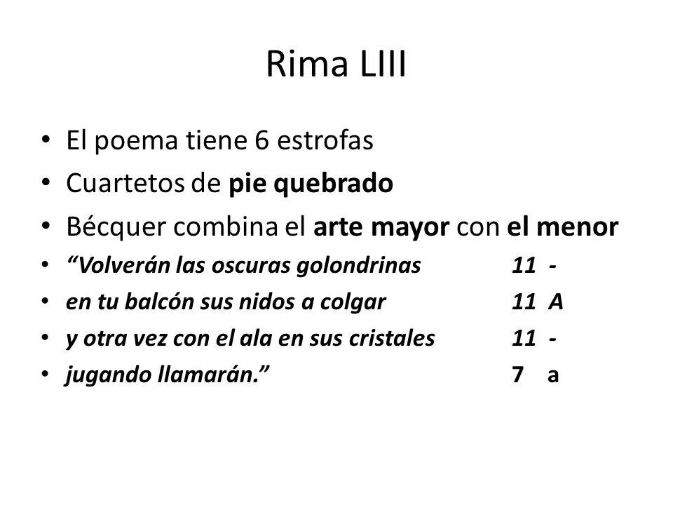 Rima LIII El poema tiene 6 estrofas Cuartetos de pie quebrado Bécquer combina el arte mayor con el menor Volverán las oscuras golondrinas 11 - en tu b