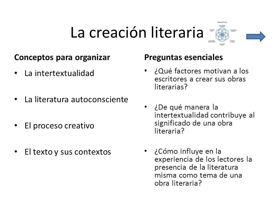 La creación literaria Conceptos para organizarPreguntas esenciales La intertextualidad La literatura autoconsciente El proceso creativo El texto y sus