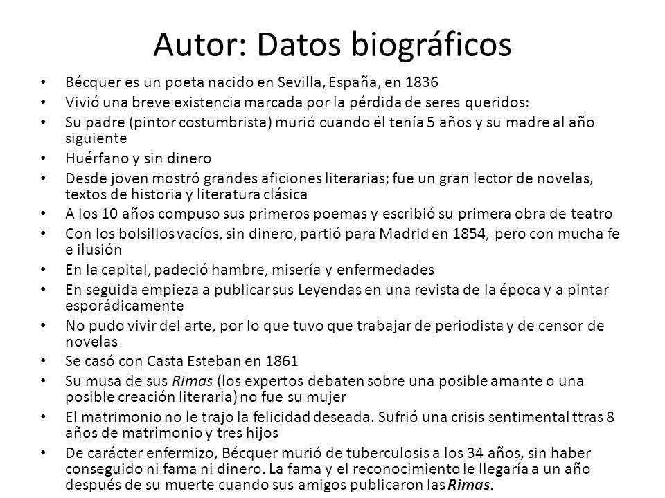 Autor: Datos biográficos Bécquer es un poeta nacido en Sevilla, España, en 1836 Vivió una breve existencia marcada por la pérdida de seres queridos: S