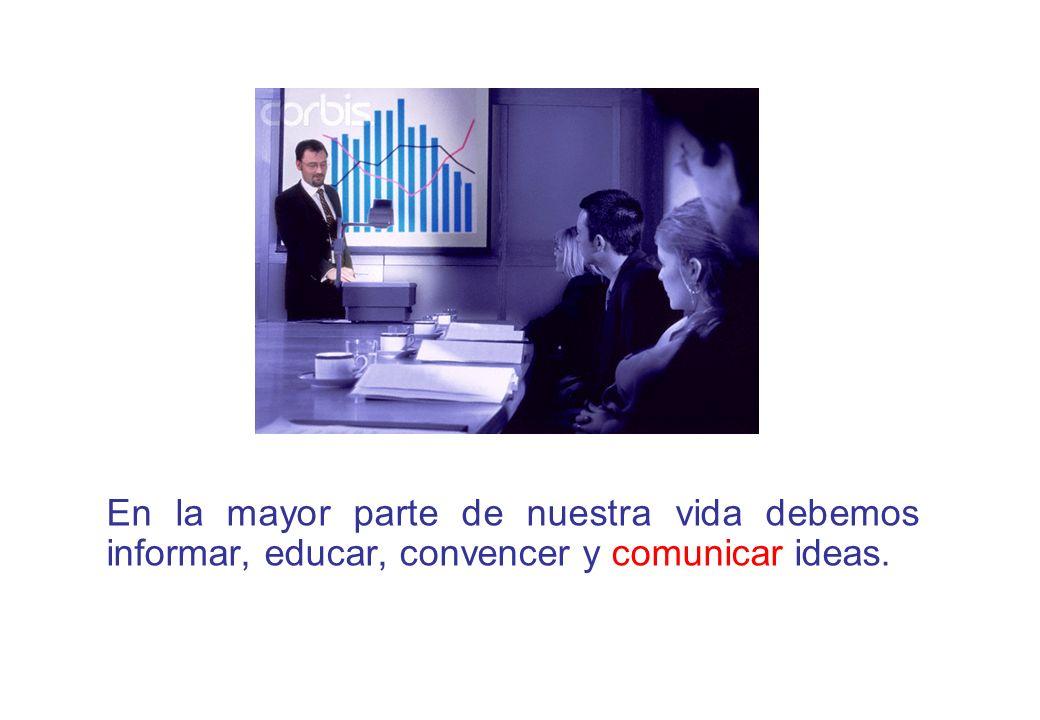 En la mayor parte de nuestra vida debemos informar, educar, convencer y comunicar ideas.