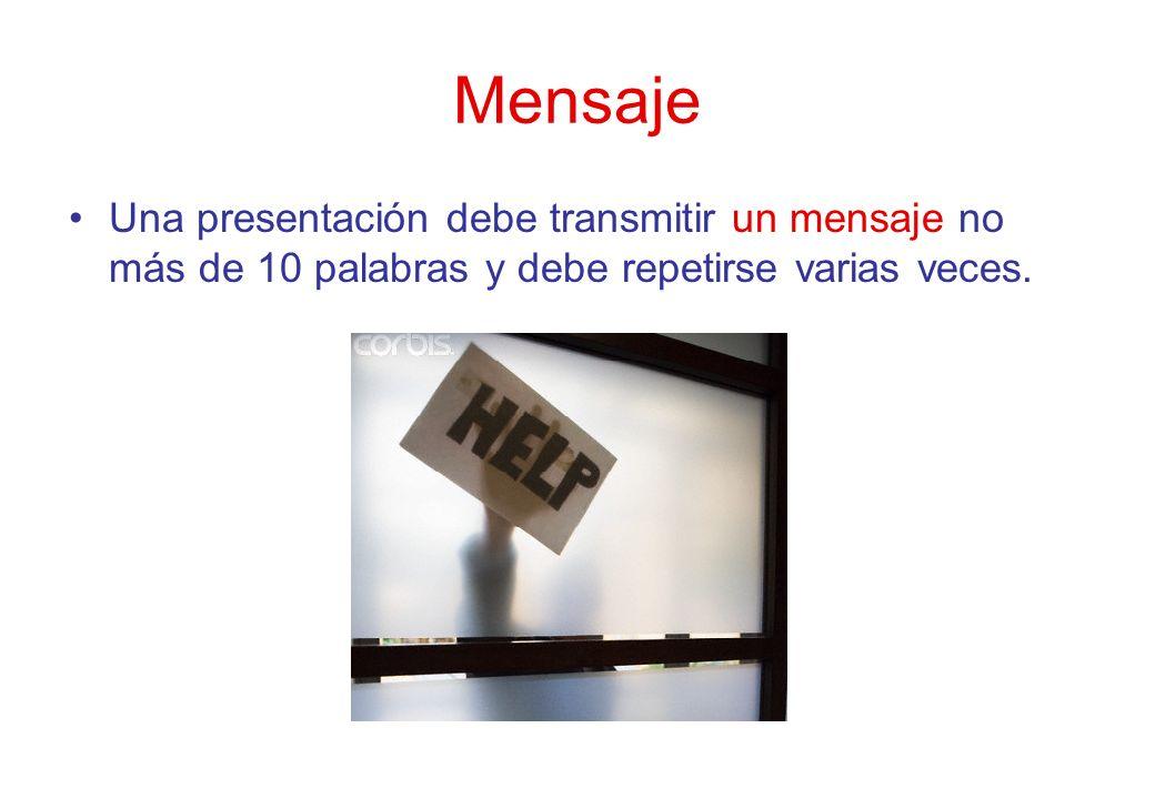 Mensaje Una presentación debe transmitir un mensaje no más de 10 palabras y debe repetirse varias veces.