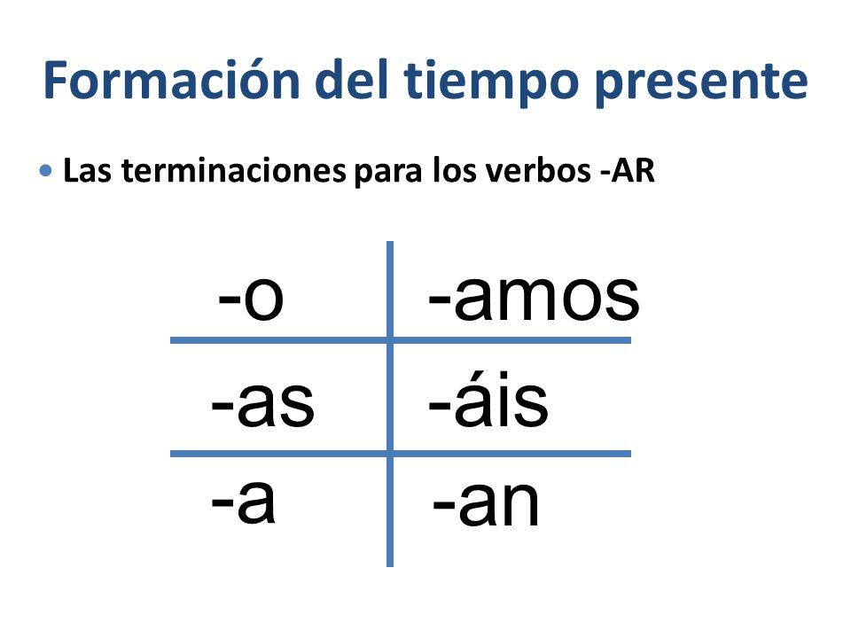 Formación del tiempo presente Las terminaciones para los verbos -AR -o -as -a -amos -áis -an