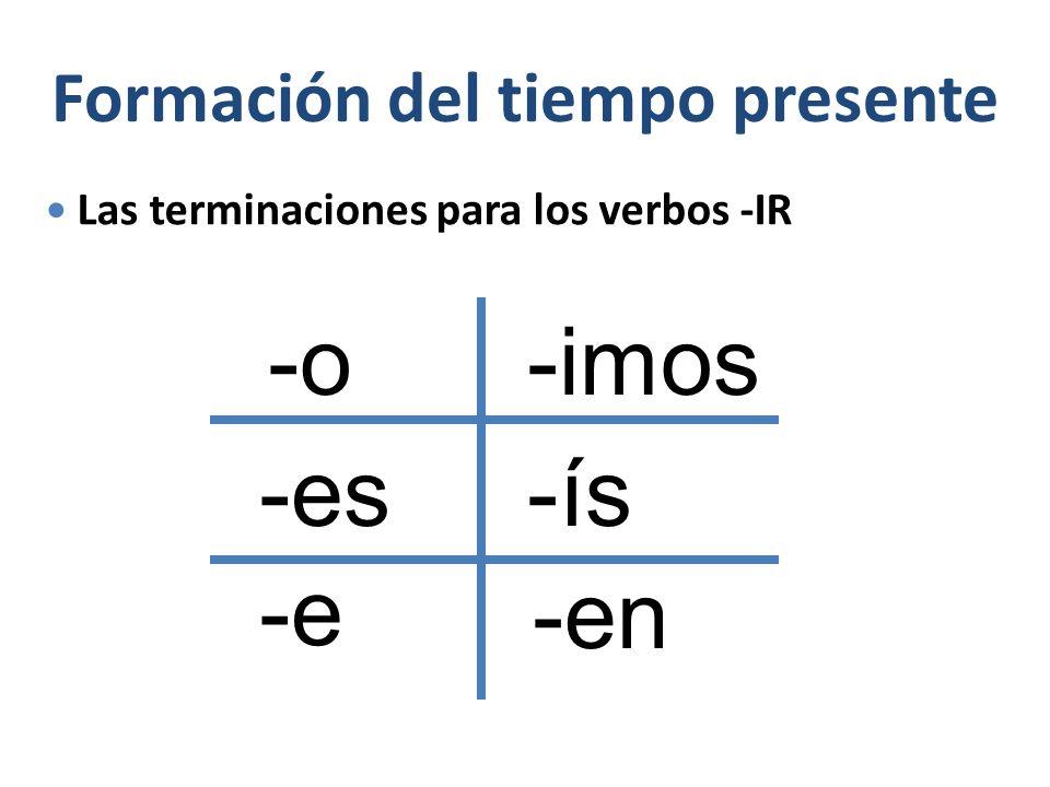 Formación del tiempo presente Las terminaciones para los verbos -IR -o -es -e -imos -ís -en