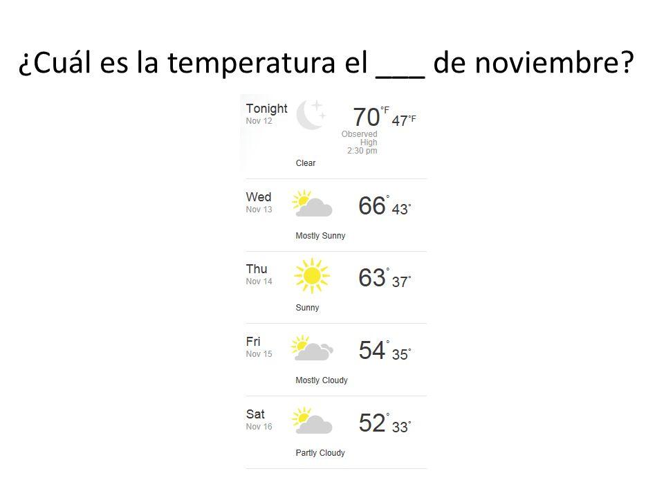 ¿Cuál es la temperatura el ___ de noviembre?