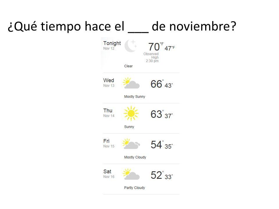 ¿Qué tiempo hace el ___ de noviembre?