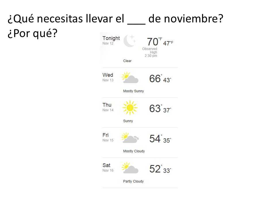 ¿Qué necesitas llevar el ___ de noviembre? ¿Por qué?
