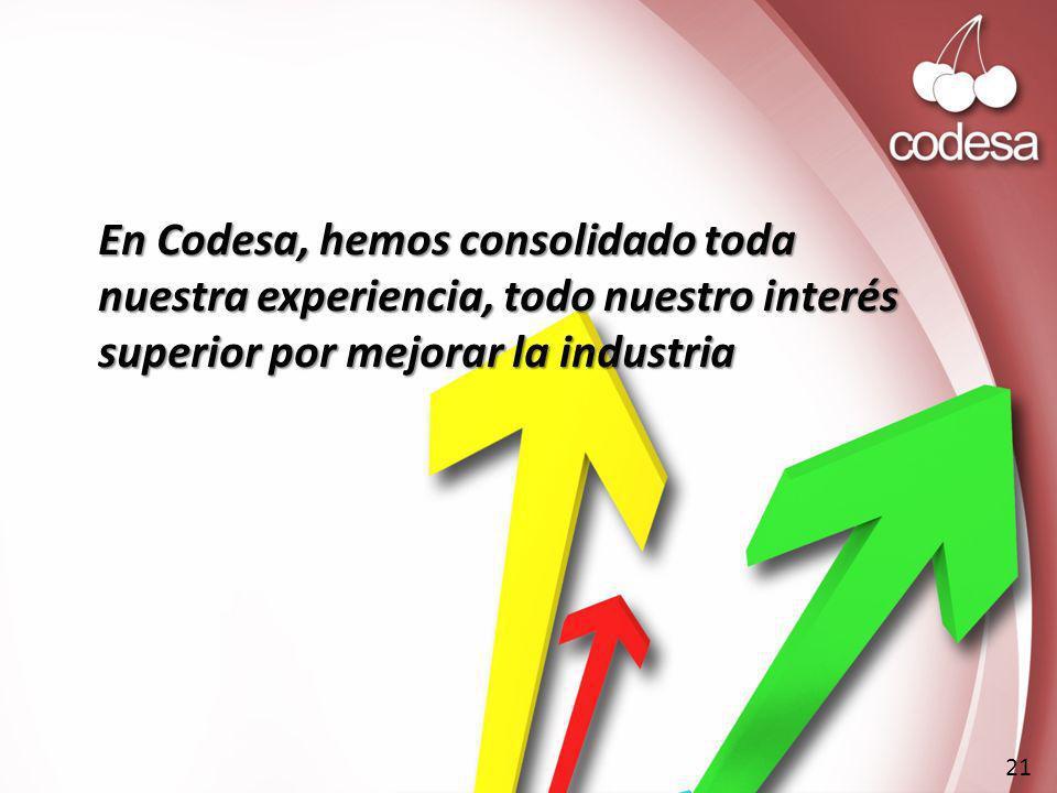 En Codesa, hemos consolidado toda nuestra experiencia, todo nuestro interés superior por mejorar la industria 21