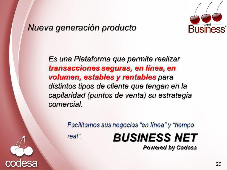 Nueva generación producto Es una Plataforma que permite realizar transacciones seguras, en línea, en volumen, estables y rentables para distintos tipos de cliente que tengan en la capilaridad (puntos de venta) su estrategia comercial.