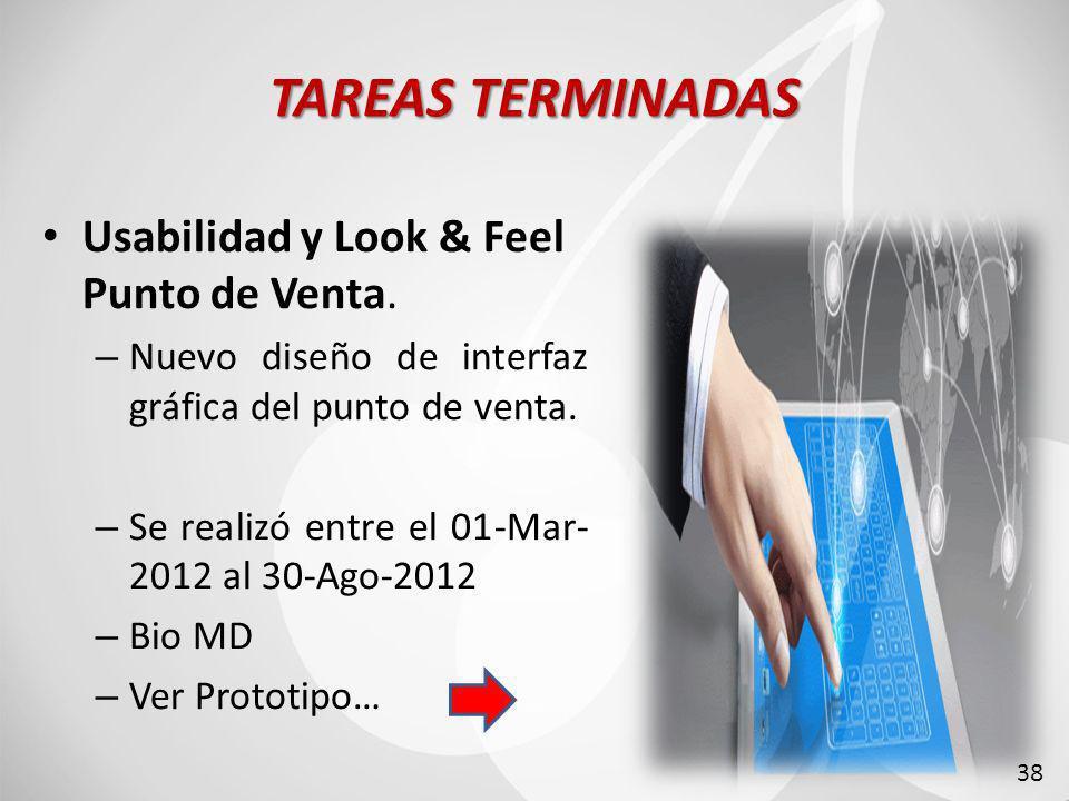 TAREAS TERMINADAS Usabilidad y Look & Feel Punto de Venta.