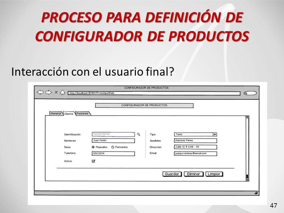 Interacción con el usuario final? PROCESO PARA DEFINICIÓN DE CONFIGURADOR DE PRODUCTOS 47