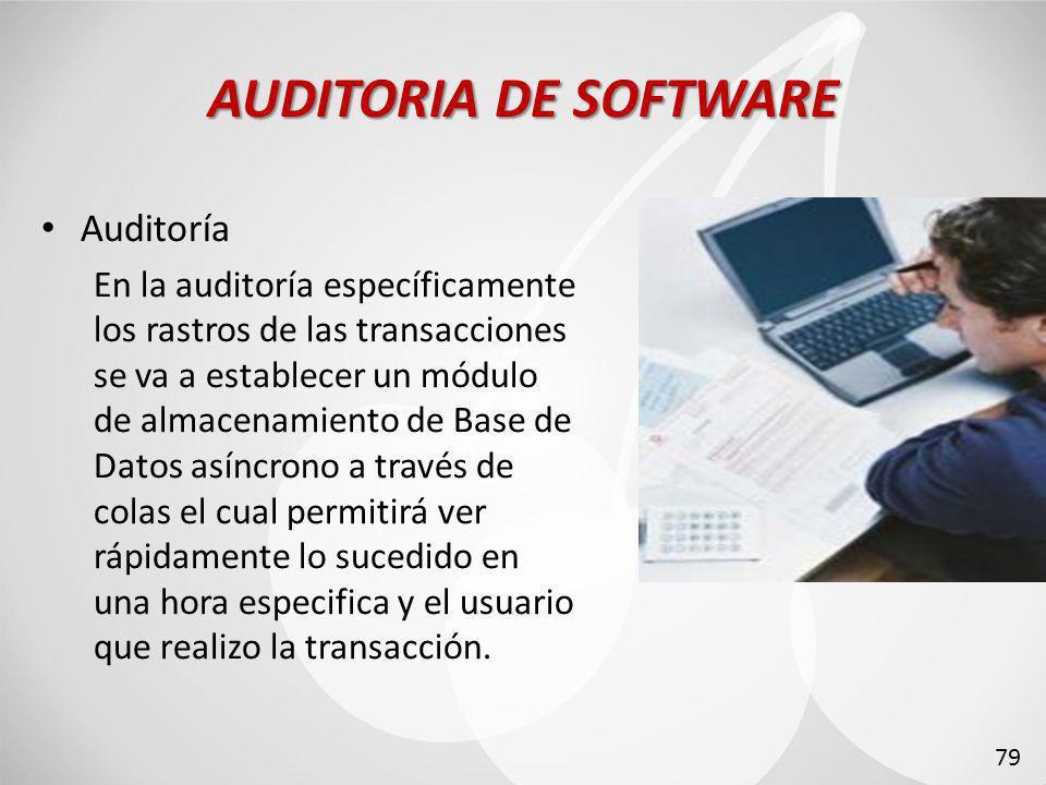 AUDITORIA DE SOFTWARE Auditoría En la auditoría específicamente los rastros de las transacciones se va a establecer un módulo de almacenamiento de Base de Datos asíncrono a través de colas el cual permitirá ver rápidamente lo sucedido en una hora especifica y el usuario que realizo la transacción.
