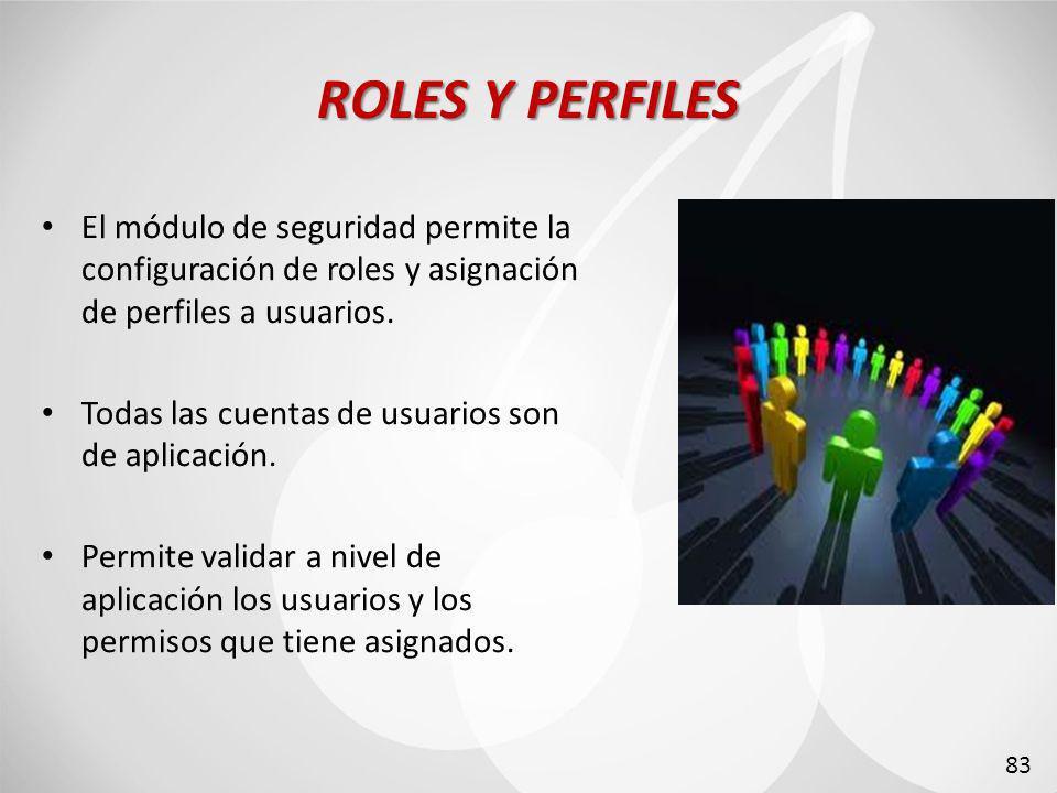 ROLES Y PERFILES El módulo de seguridad permite la configuración de roles y asignación de perfiles a usuarios.