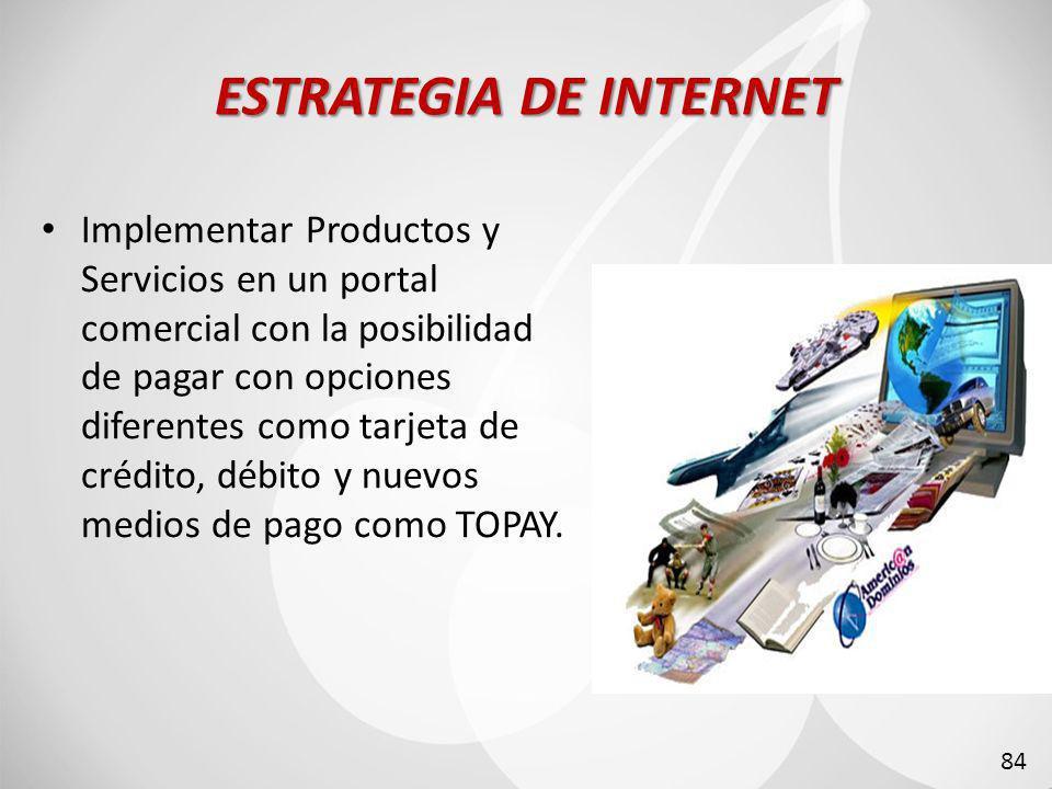 ESTRATEGIA DE INTERNET Implementar Productos y Servicios en un portal comercial con la posibilidad de pagar con opciones diferentes como tarjeta de crédito, débito y nuevos medios de pago como TOPAY.