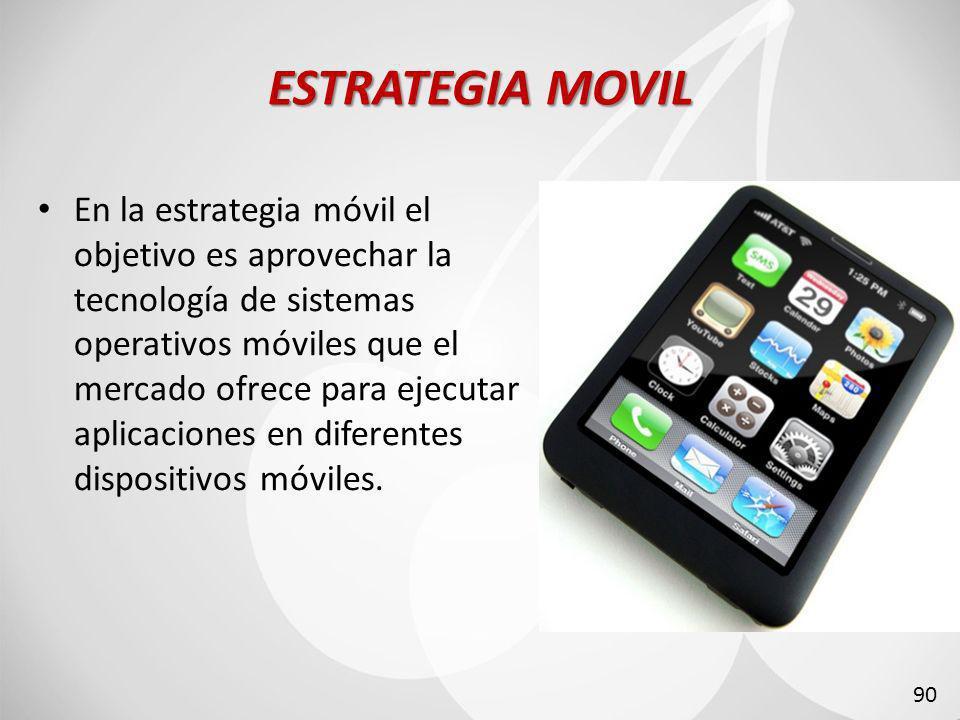 ESTRATEGIA MOVIL En la estrategia móvil el objetivo es aprovechar la tecnología de sistemas operativos móviles que el mercado ofrece para ejecutar aplicaciones en diferentes dispositivos móviles.