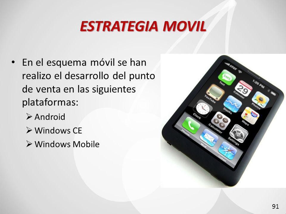ESTRATEGIA MOVIL En el esquema móvil se han realizo el desarrollo del punto de venta en las siguientes plataformas: Android Windows CE Windows Mobile 91