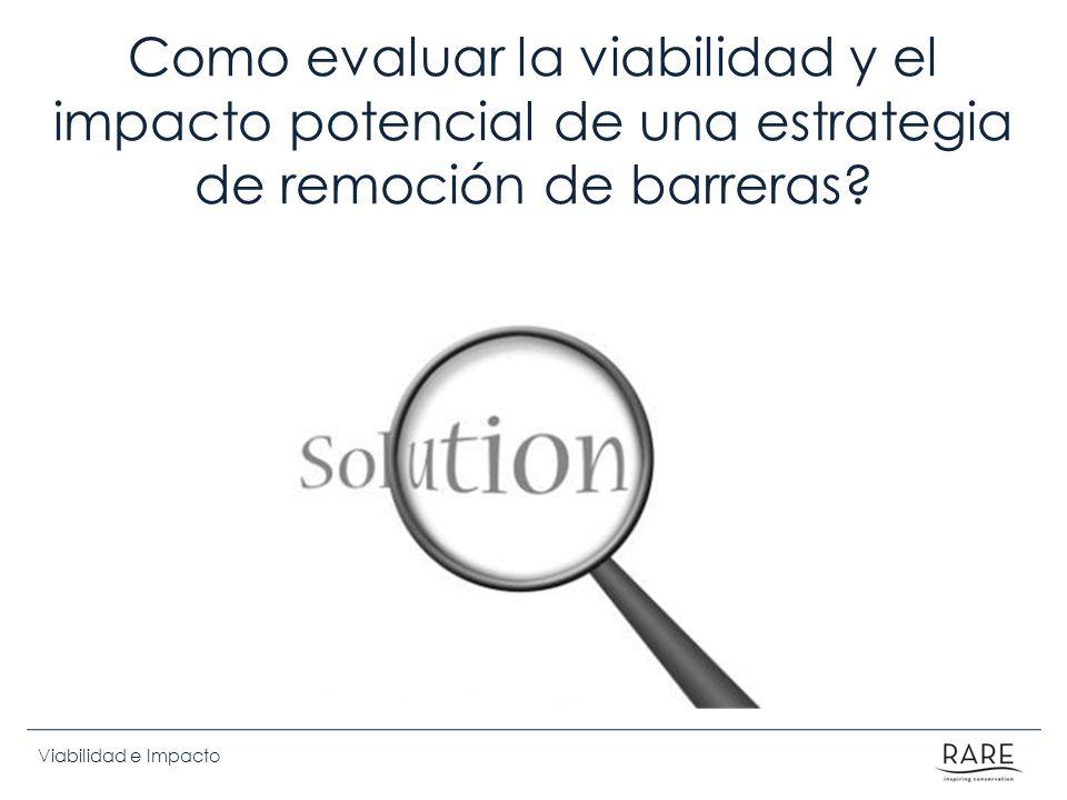Viabilidad e Impacto Como evaluar la viabilidad y el impacto potencial de una estrategia de remoción de barreras?