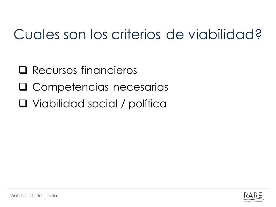 Viabilidad e Impacto Cuales son los criterios de viabilidad? Recursos financieros Competencias necesarias Viabilidad social / política