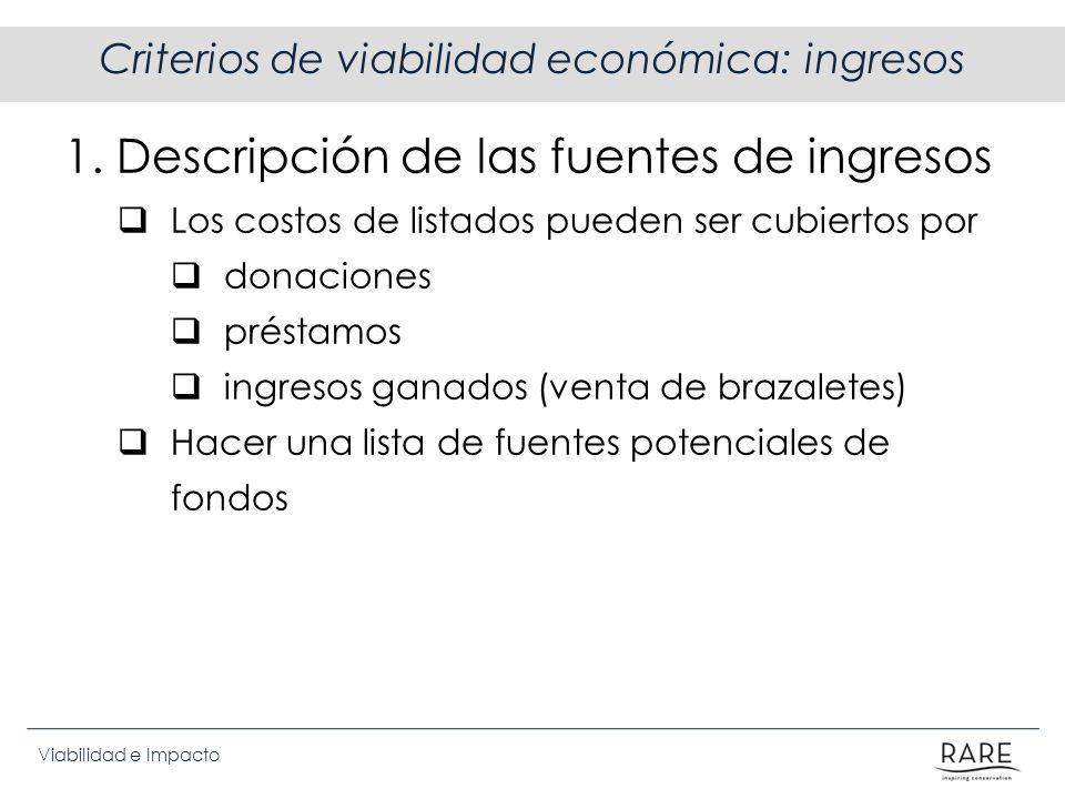 Viabilidad e Impacto Criterios de viabilidad económica: ingresos 1. Descripción de las fuentes de ingresos Los costos de listados pueden ser cubiertos