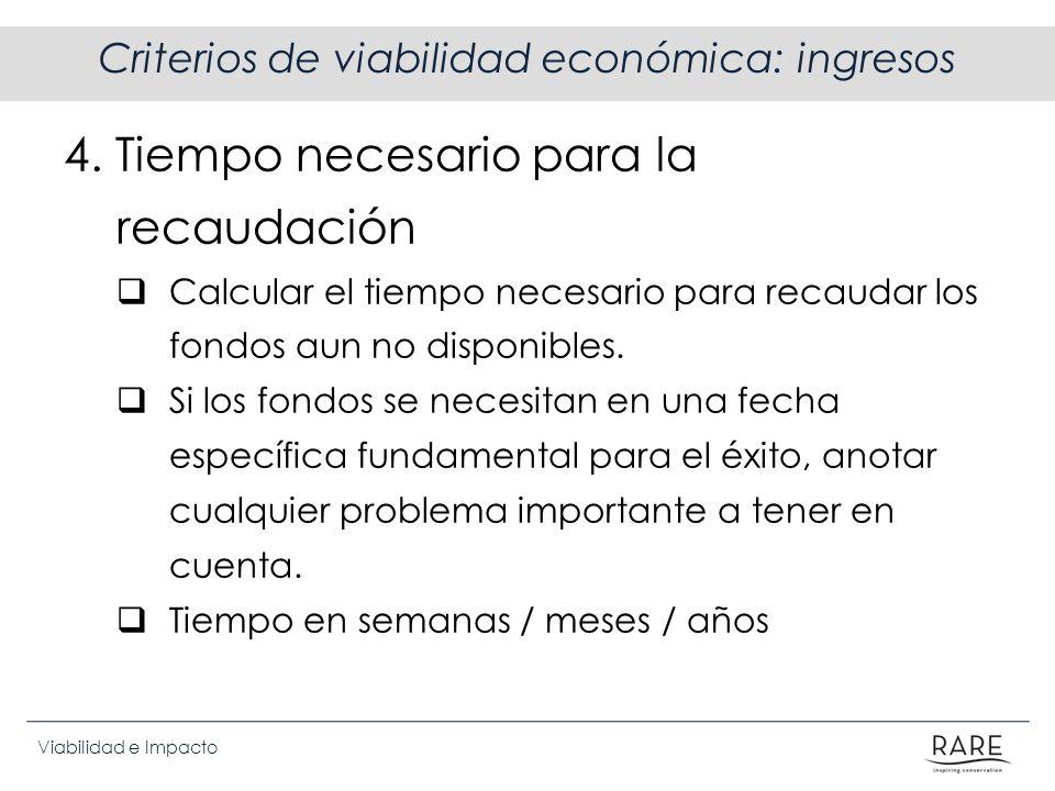 Viabilidad e Impacto Criterios de viabilidad económica: ingresos 4. Tiempo necesario para la recaudación Calcular el tiempo necesario para recaudar lo