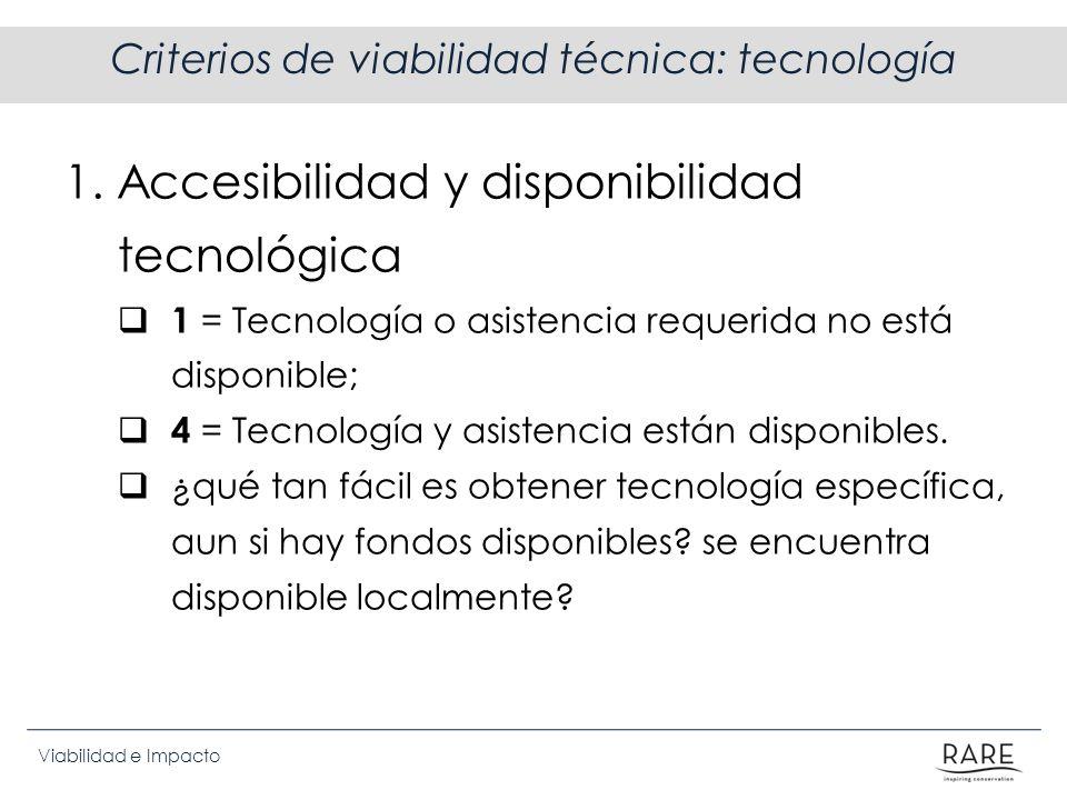Viabilidad e Impacto Criterios de viabilidad técnica: tecnología 1. Accesibilidad y disponibilidad tecnológica 1 = Tecnología o asistencia requerida n