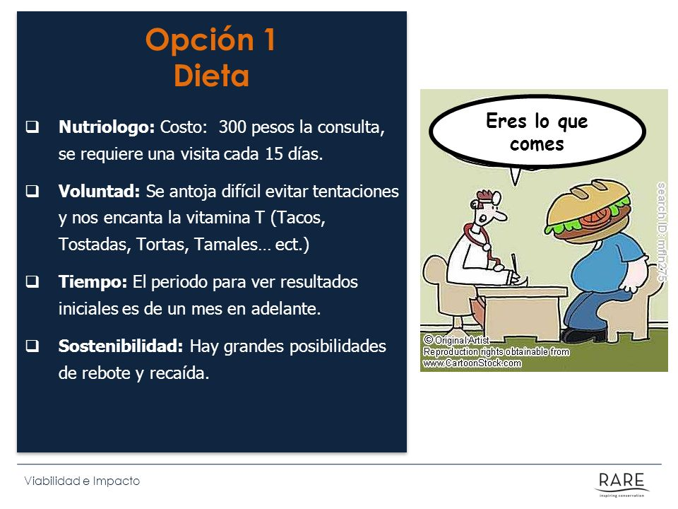 Viabilidad e Impacto Opción 1 Dieta Nutriologo: Costo: 300 pesos la consulta, se requiere una visita cada 15 días. Voluntad: Se antoja difícil evitar