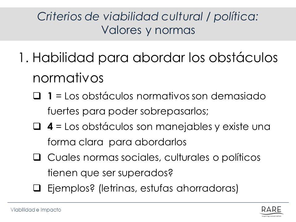 Viabilidad e Impacto Criterios de viabilidad cultural / política: Valores y normas 1. Habilidad para abordar los obstáculos normativos 1 = Los obstácu