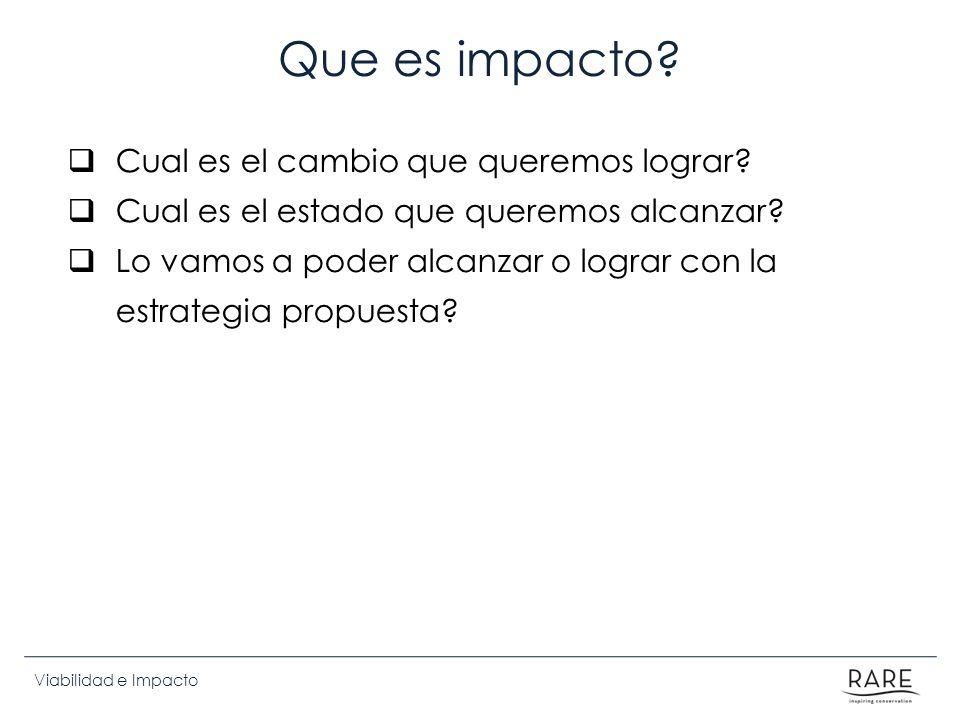 Viabilidad e Impacto Que es impacto? Cual es el cambio que queremos lograr? Cual es el estado que queremos alcanzar? Lo vamos a poder alcanzar o logra