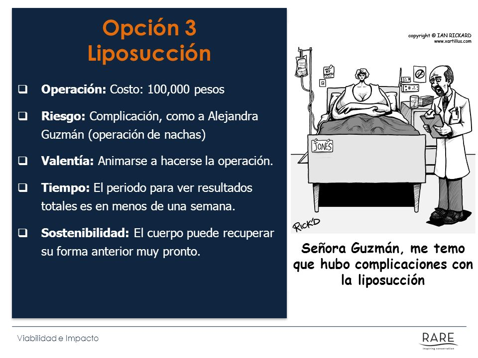 Viabilidad e Impacto Opción 3 Liposucción Operación: Costo: 100,000 pesos Riesgo: Complicación, como a Alejandra Guzmán (operación de nachas) Valentía