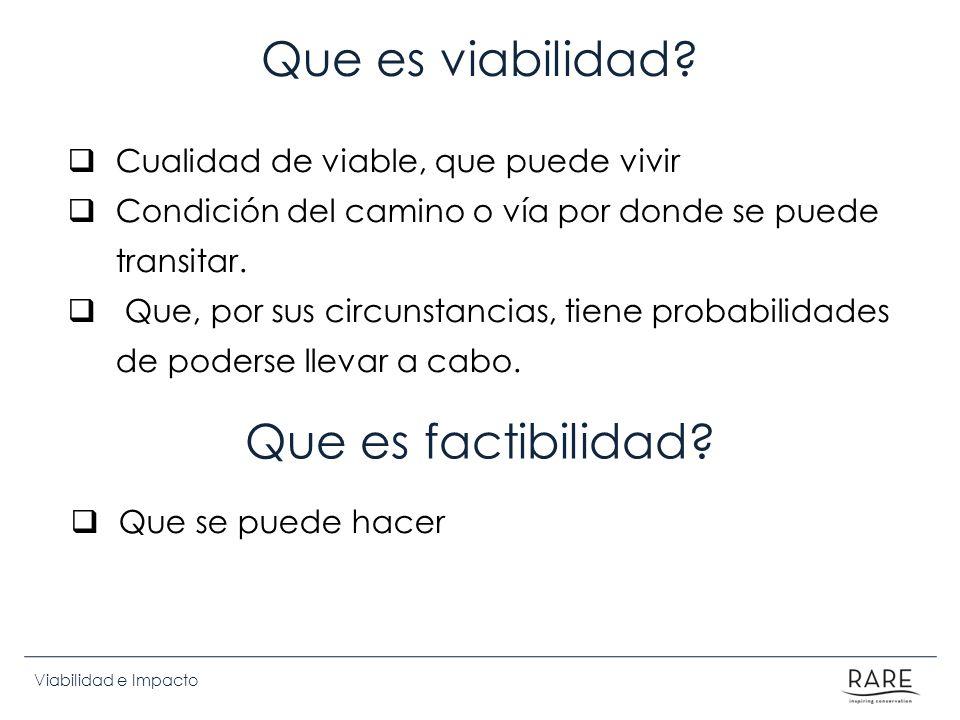 Viabilidad e Impacto Criterios de viabilidad cultural / política: Valores y normas 1.