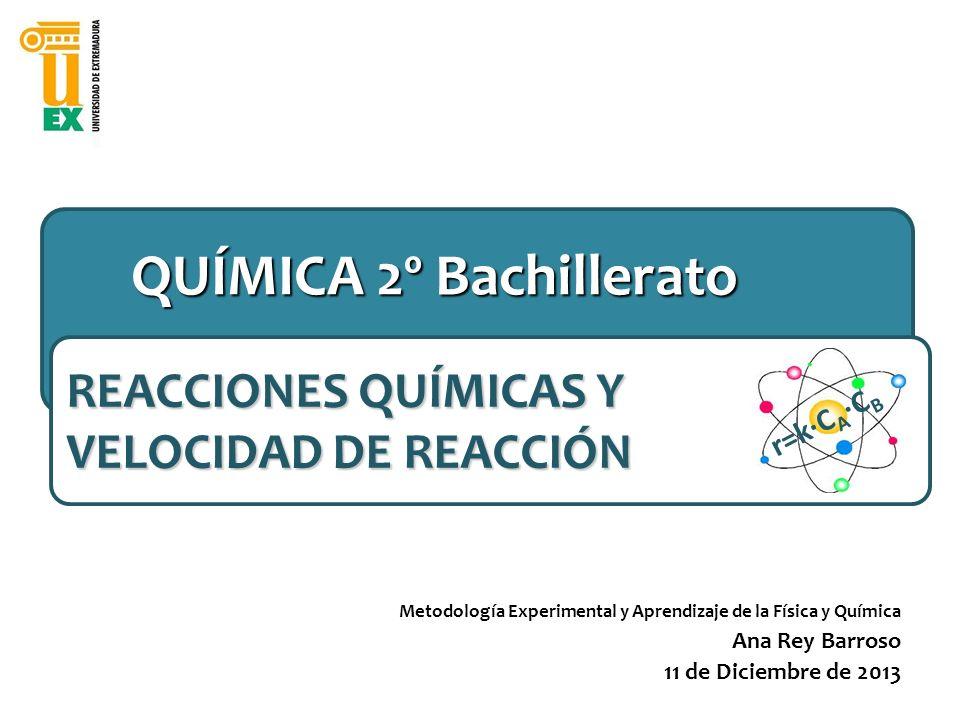 6) FACTORES QUE INFLUYEN EN LA VELOCIDAD DE REACCIÓN REACCIONES QUÍMICAS Y VELOCIDAD DE REACCIÓN_______________________ r=k·C A ·C B TEMPERATURA CONCENTRACIÓN (o P en fase gas) Probabilidad de choques