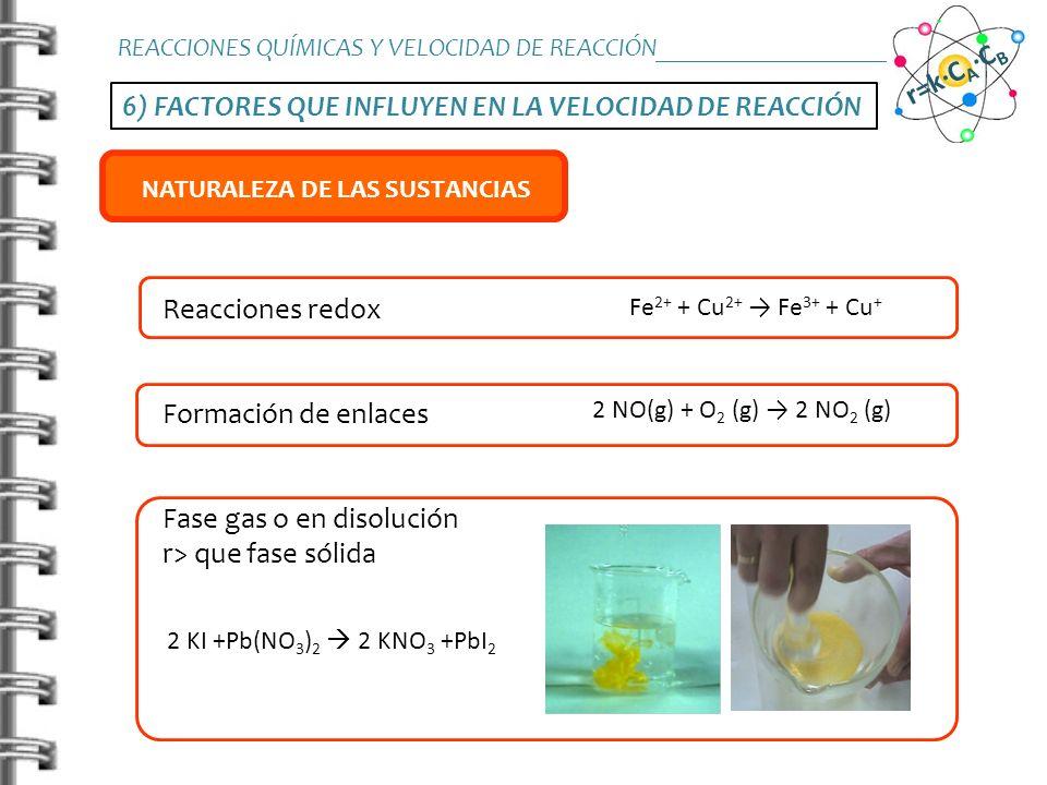 6) FACTORES QUE INFLUYEN EN LA VELOCIDAD DE REACCIÓN REACCIONES QUÍMICAS Y VELOCIDAD DE REACCIÓN_______________________ r=k·C A ·C B TEMPERATURA CONCE