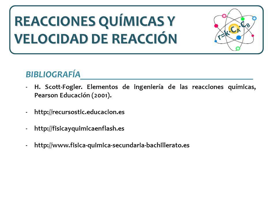 BIBLIOGRAFÍA______________________________________ -H. Scott-Fogler. Elementos de ingeniería de las reacciones químicas, Pearson Educación (2001). -ht