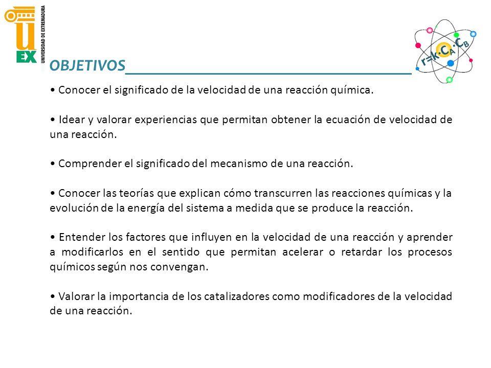 6) FACTORES QUE INFLUYEN EN LA VELOCIDAD DE REACCIÓN REACCIONES QUÍMICAS Y VELOCIDAD DE REACCIÓN_______________________ r=k·C A ·C B TEMPERATURA CONCENTRACIÓN SUPERFICIE DE CONTACTO NATURALEZA DE LAS SUSTANCIAS Reacciones redox Formación de enlaces Fase gas o en disolución r> que fase sólida Fe 2+ + Cu 2+ Fe 3+ + Cu + 2 NO(g) + O 2 (g) 2 NO 2 (g) 2 KI +Pb(NO 3 ) 2 2 KNO 3 +PbI 2