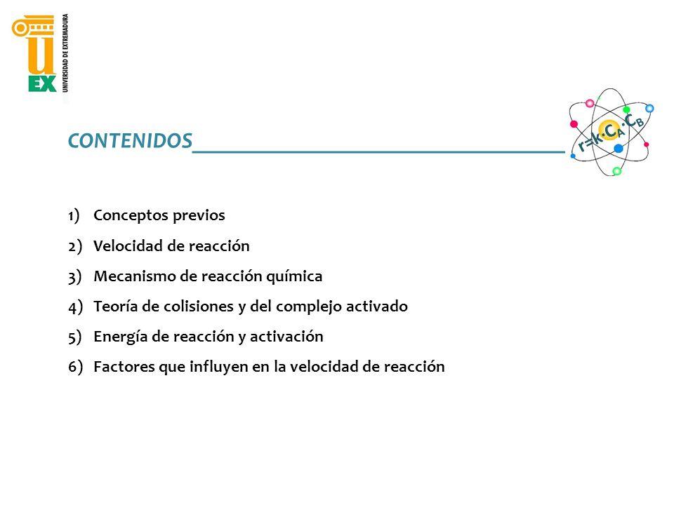 CONTENIDOS________________________________________ 1)Conceptos previos 2)Velocidad de reacción 3)Mecanismo de reacción química 4)Teoría de colisiones