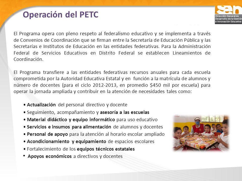 Dirección General de Desarrollo de la Gestión e Innovación Educativa El Programa opera con pleno respeto al federalismo educativo y se implementa a tr