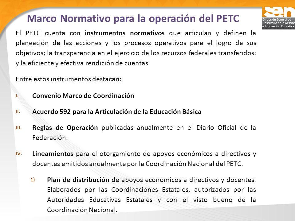 Dirección General de Desarrollo de la Gestión e Innovación Educativa El PETC cuenta con instrumentos normativos que articulan y definen la planeación