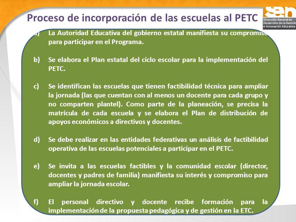 Dirección General de Desarrollo de la Gestión e Innovación Educativa Proceso de incorporación de las escuelas al PETC a)La Autoridad Educativa del gob