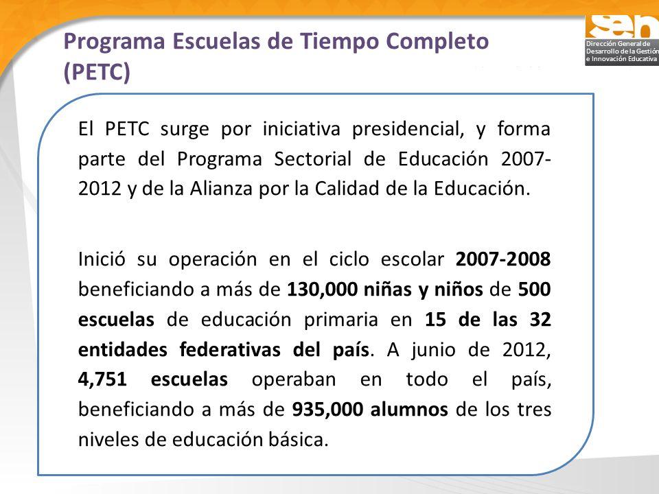 Dirección General de Desarrollo de la Gestión e Innovación Educativa El PETC surge por iniciativa presidencial, y forma parte del Programa Sectorial d