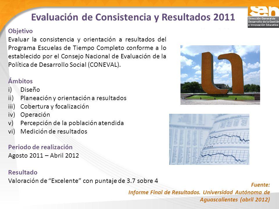 Dirección General de Desarrollo de la Gestión e Innovación Educativa Evaluación de Consistencia y Resultados 2011 Objetivo Evaluar la consistencia y o