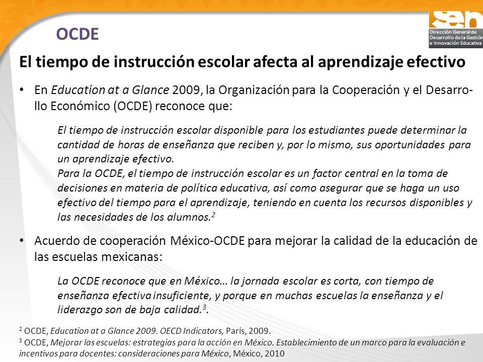 Dirección General de Desarrollo de la Gestión e Innovación Educativa El tiempo de instrucción escolar afecta al aprendizaje efectivo En Education at a