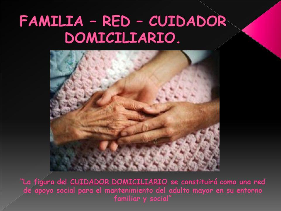 La figura del CUIDADOR DOMICILIARIO se constituirá como una red de apoyo social para el mantenimiento del adulto mayor en su entorno familiar y social