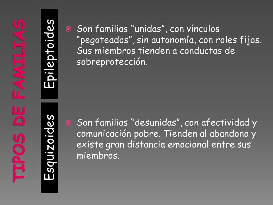 Esquizoides Son familias unidas, con vínculos pegoteados, sin autonomía, con roles fijos.