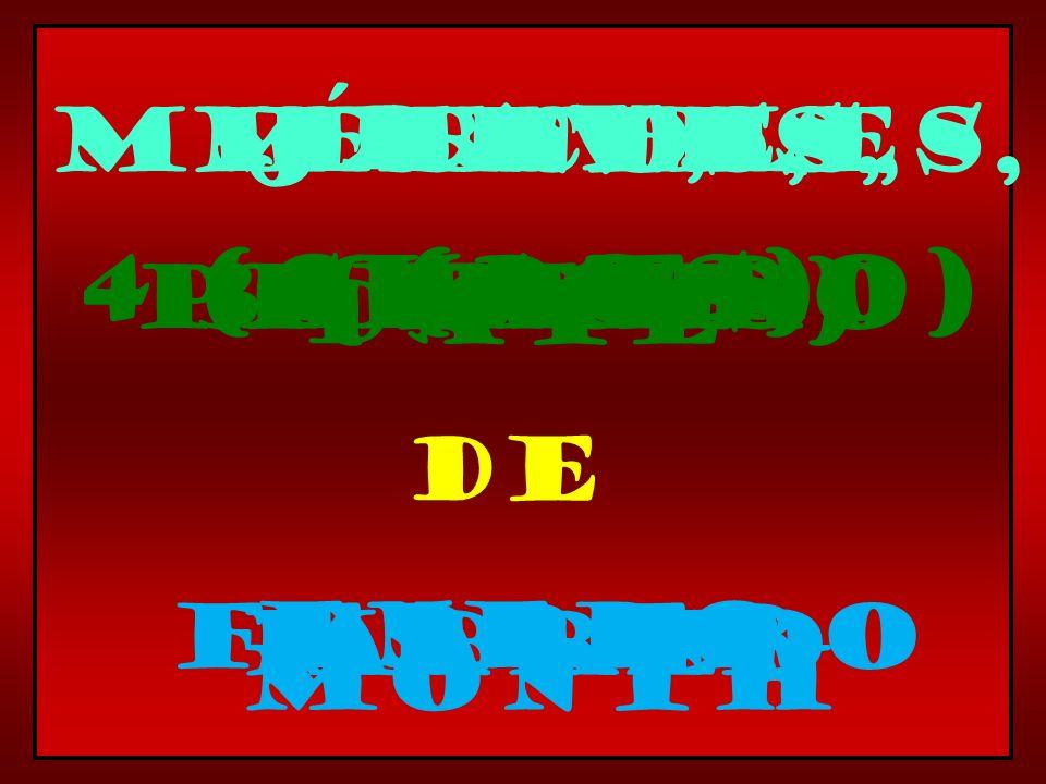 de month Date primerofirst 2 (dos) 3 (tres) 4 (cuatro) enero febrero marzoabril Day, lunes,martes,miÉrcoles,jueves,
