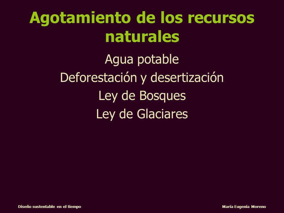 Diseño sustentable en el tiempo María Eugenia Moreno Agotamiento de los recursos naturales Agua potable Deforestación y desertización Ley de Bosques L