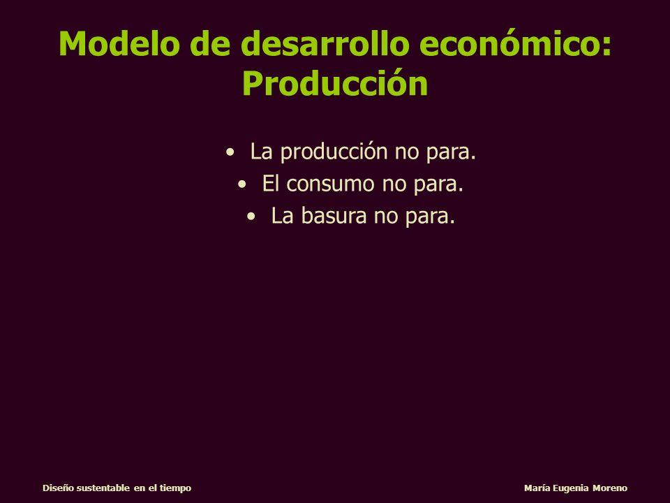 Diseño sustentable en el tiempo María Eugenia Moreno PROYECTA DESEOS DISEÑO MARKETING MERCADO PIDE SOLUCIONES OFRECE UNA MARCA DESARROLLA PRODUCTOS Modelo de desarrollo económico: Consumo
