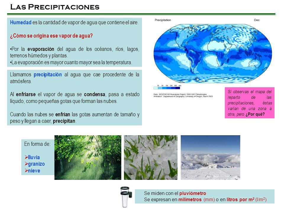 Las Precipitaciones Humedad es la cantidad de vapor de agua que contiene el aire. ¿Cómo se origina ese vapor de agua? Por la evaporación del agua de l