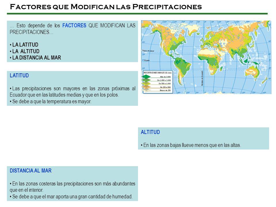 Factores que Modifican las Precipitaciones … Esto depende de los FACTORES QUE MODIFICAN LAS PRECIPITACIONES… LA LATITUD LA ALTITUD LA DISTANCIA AL MAR