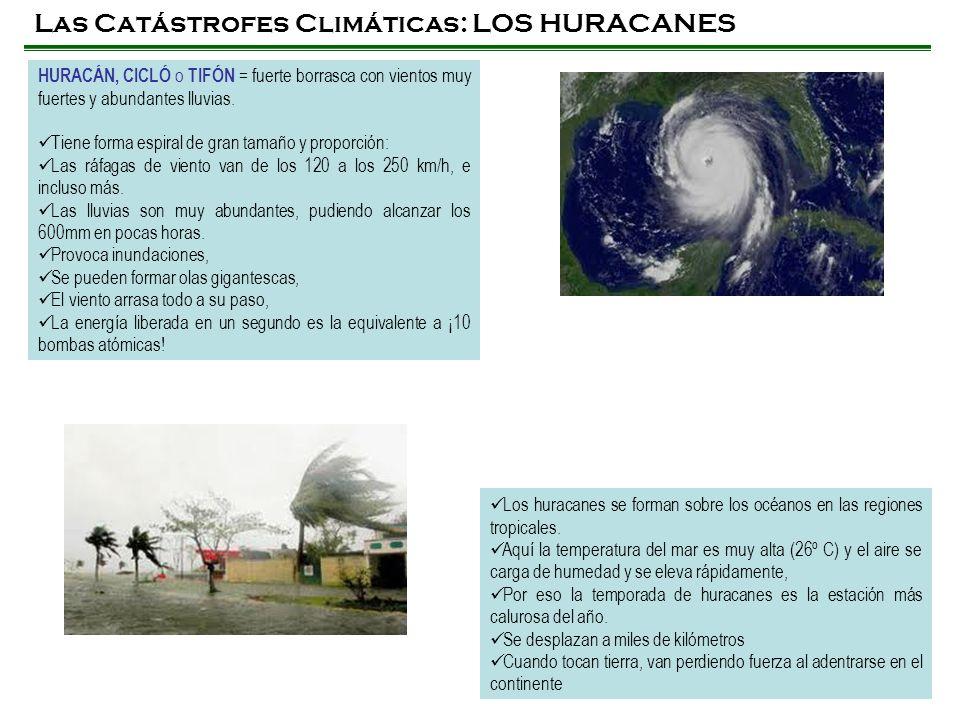 Las Catástrofes Climáticas: LOS HURACANES HURACÁN, CICLÓ o TIFÓN = fuerte borrasca con vientos muy fuertes y abundantes lluvias. Tiene forma espiral d