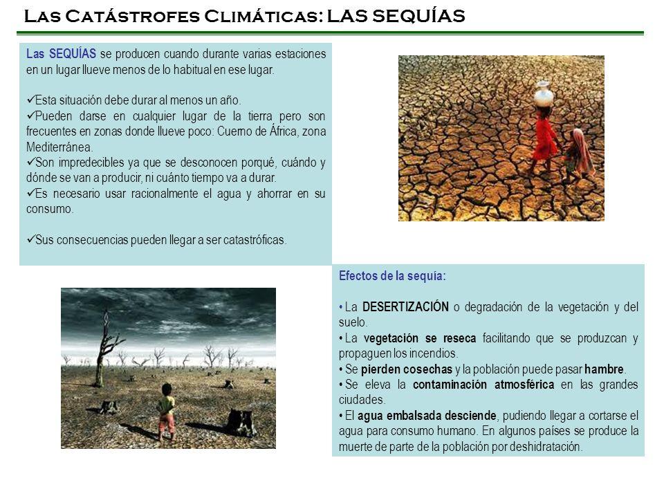 Las Catástrofes Climáticas: LAS SEQUÍAS Las SEQUÍAS se producen cuando durante varias estaciones en un lugar llueve menos de lo habitual en ese lugar.